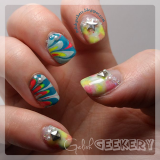 Gelish Watermarble and Watercolor