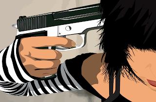 Emo Brunele Girl Pistol Against Head Headshot HD Wallpaper Babe