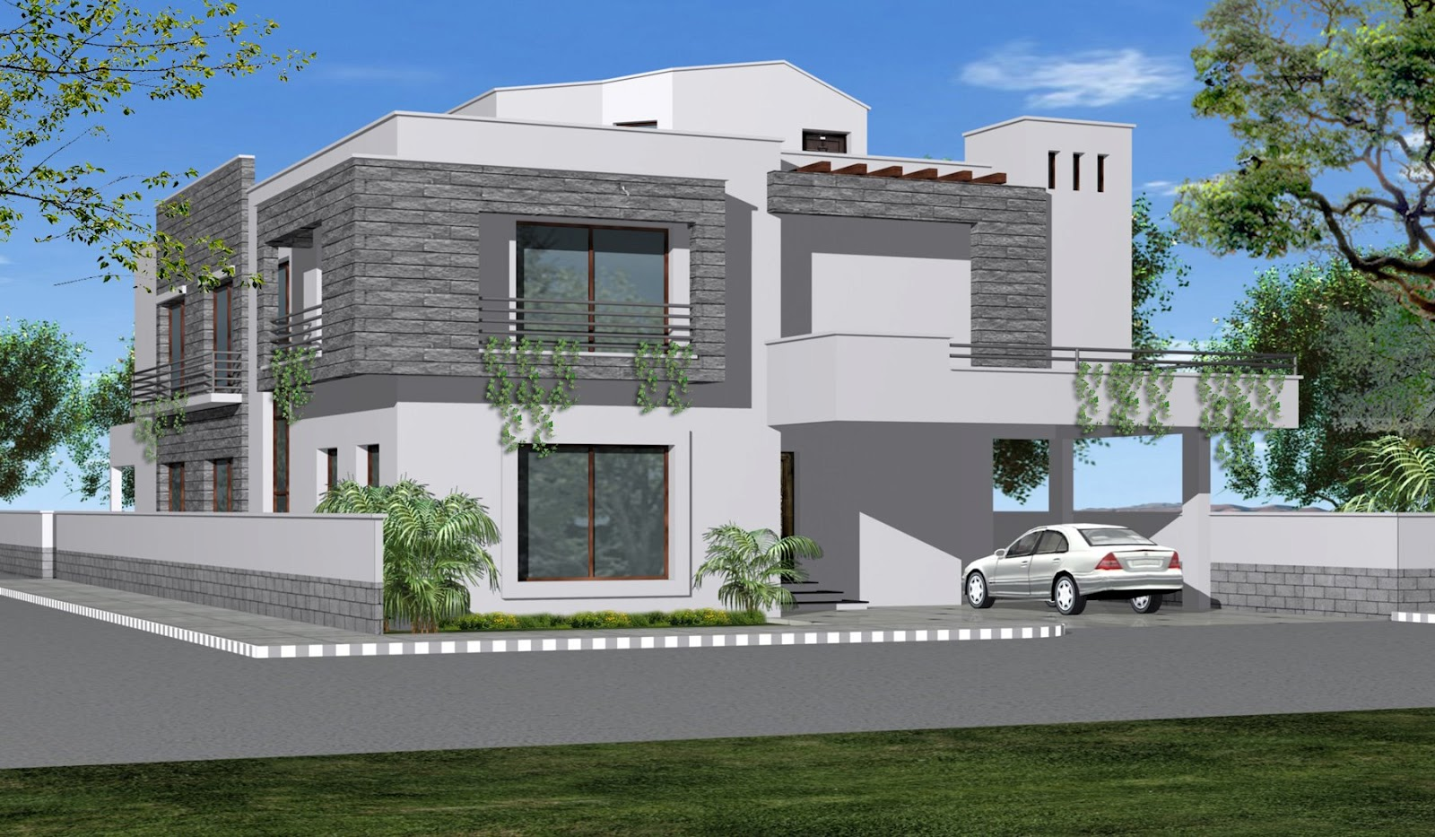 House front elevation homedesignpictures for Home design front side