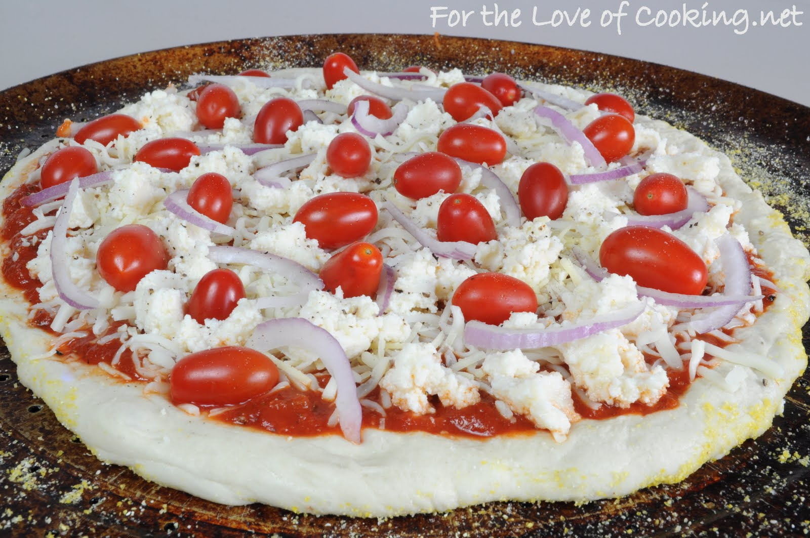 Pizza with Ricotta, Grape Tomatoes, Red Onion, and Fresh Basil ...