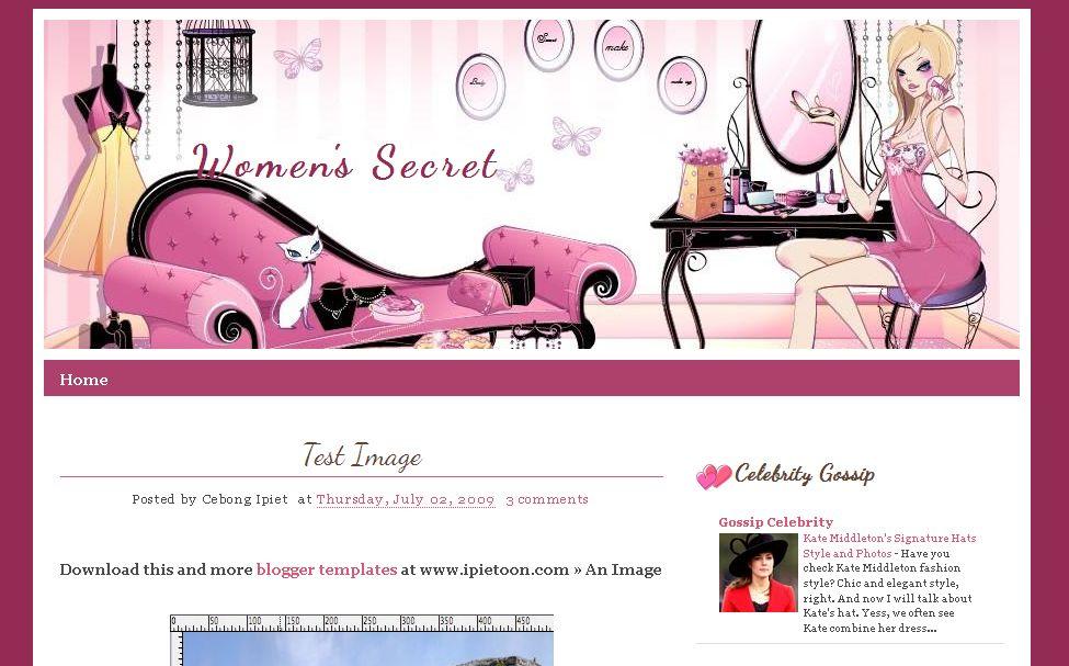 Blogger Template : Women\'s Secret | Ipietoon-Cute Blog Design