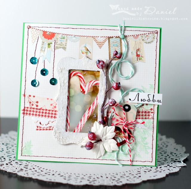 новогодняя открытка candy cane
