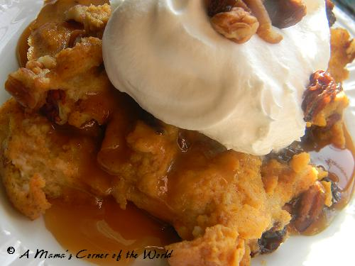 Pumpkin Bread Pudding with Butter Rum Sauce