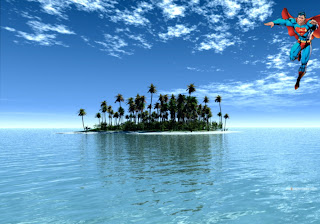 Superman free wallpapers posters Superman Flying in Paradise Island backgrounds