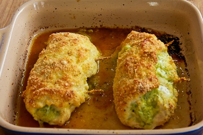 finished baking for Baked Chicken Stuffed with Pesto and Cheese found on KalynsKitchen.com