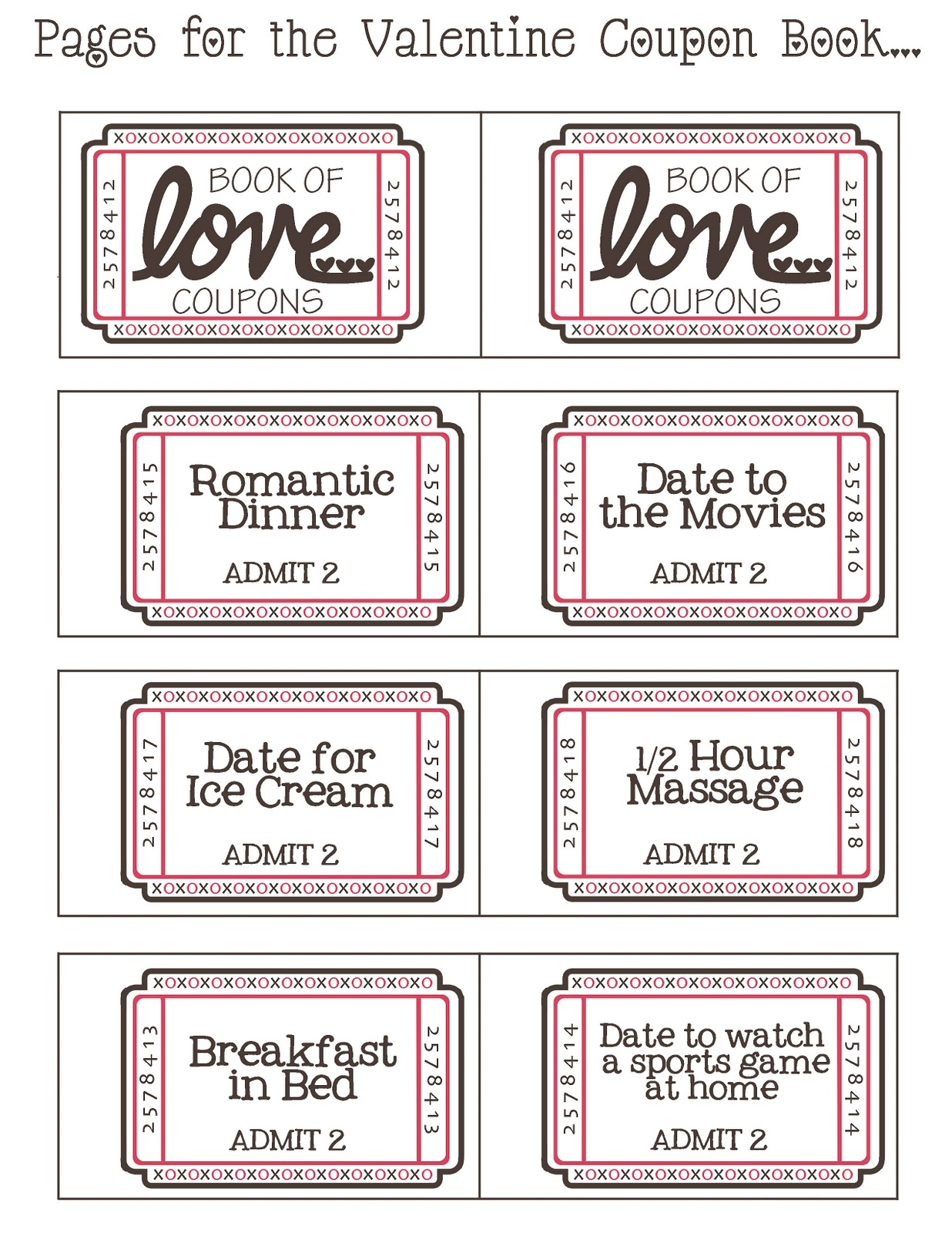 Mommy by day Crafter by night Free Printable Valentine Coupon Book – Free Coupon Book Template