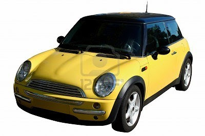 small yellow car isolated on white backrground
