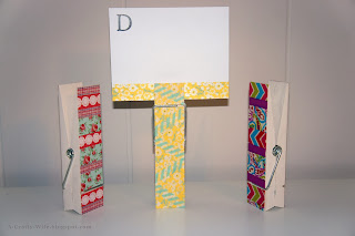 Washi tape on large clothespins and monnogrammed notecards for personal gift | A Crafty Wife