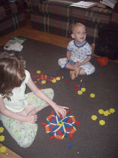 Homeschool - Playing pattern blocks