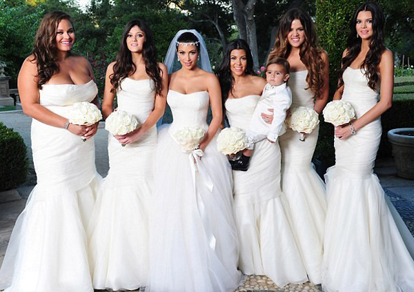 White rose weddings celebrations events bridesmaids who wore white even the celebrities such as kim kardashian chose white for her bridesmaids junglespirit Image collections