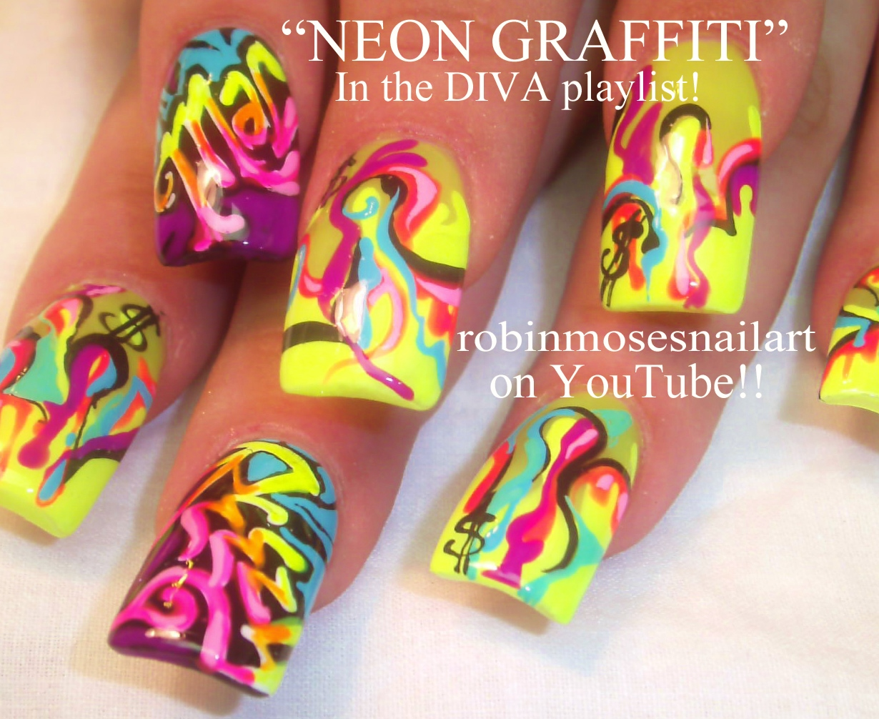 Nail Art Design: grafffiti nail art, teal magnolias nail art, neon ...