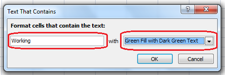 Text That Contains Working