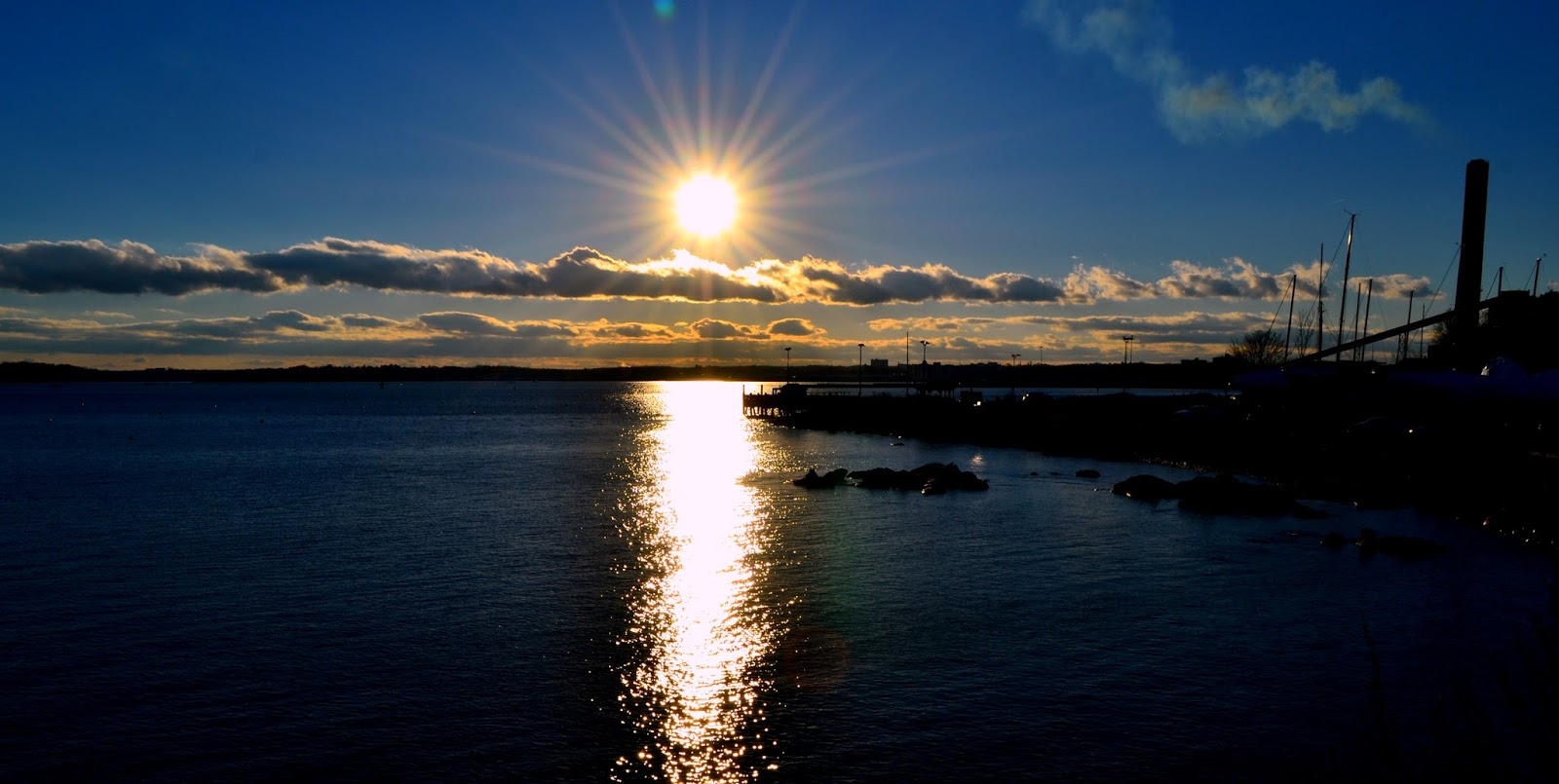 bright, sunset, salem, salem harbor, water, shiny, wet