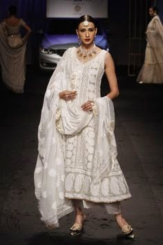 Chikankari Pure Georgette Anarkali in A Fashion Show