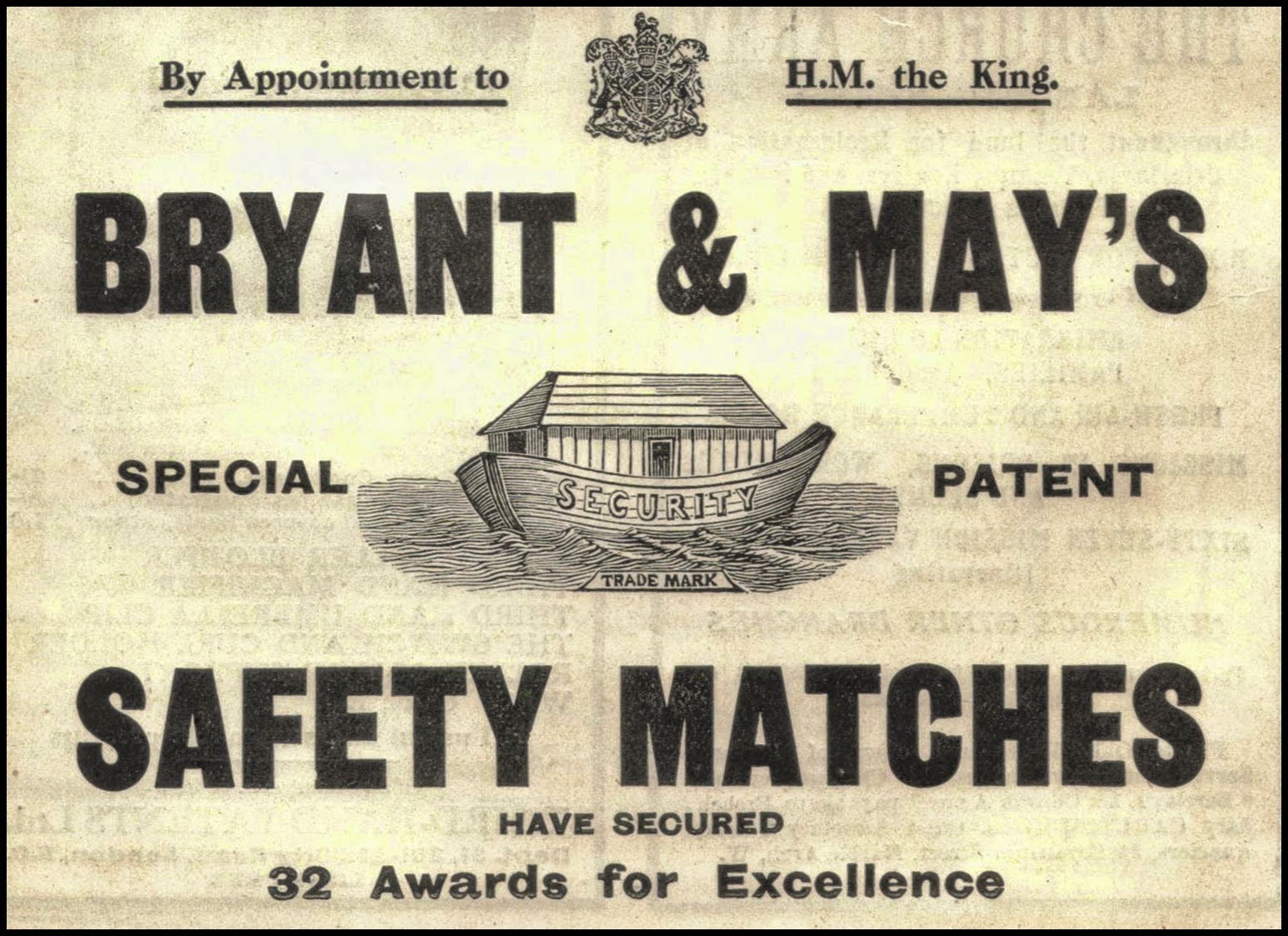 1914 advert for Bryant & May's matches