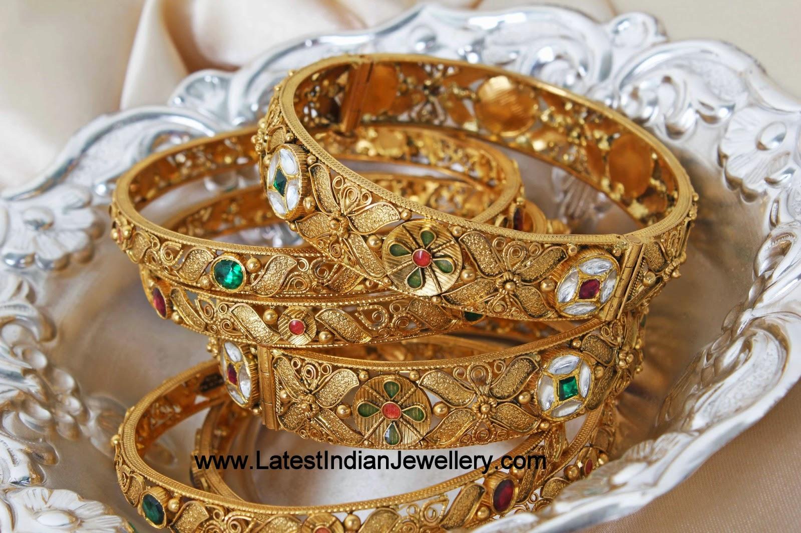 Kundan Gold Bangles Set