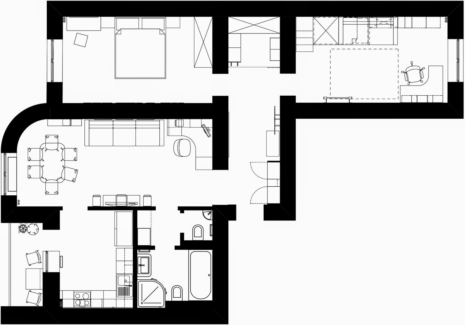 План квартиры площадью 100 м.кв в ЖК Чайка