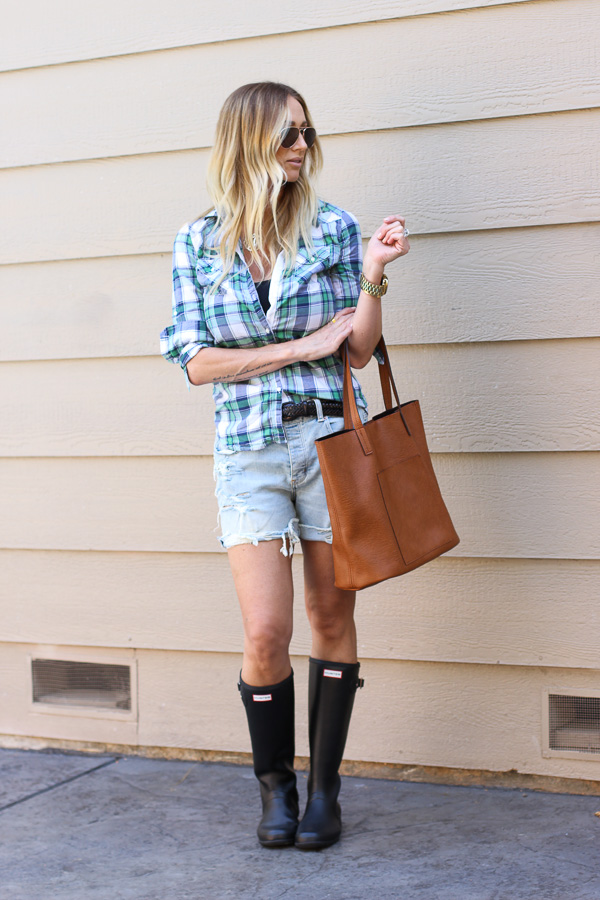 plaid and shorts with hunter boots