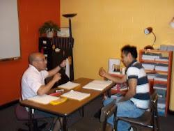 Carmelo Lopez con su alumno Gabino