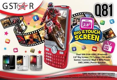 firmware gstar,fitur and all spesification handphone gstar