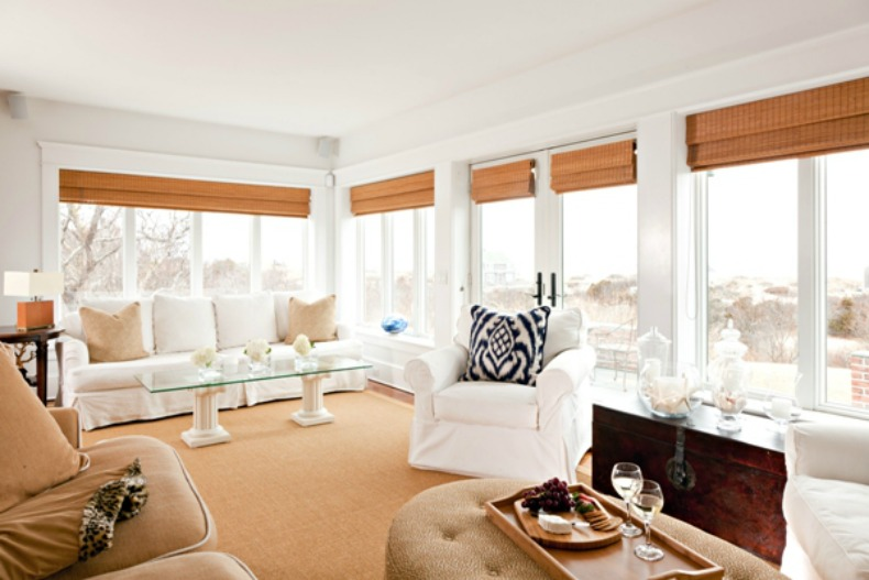 clean. coastal living room, white slipcover sofas and chairs