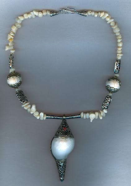 Petrified Shell and Nepali beads