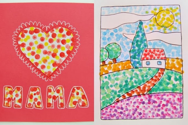 Malování s vatovými tyčinkami, malujeme s dětmi
