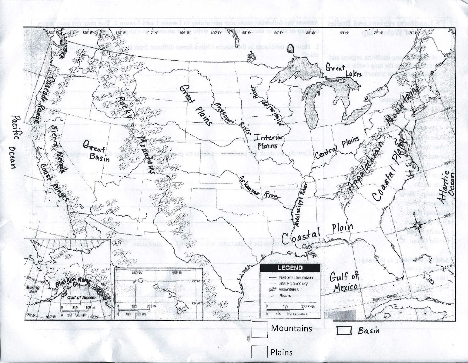 Map Of US And Canada With Rivers Mountains Plains Homeschool List - Us physical features map labeled