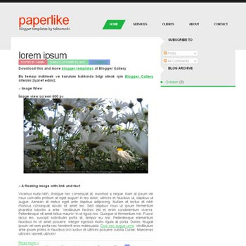 PaperLike blogger template. simple and minimalist design template blogger