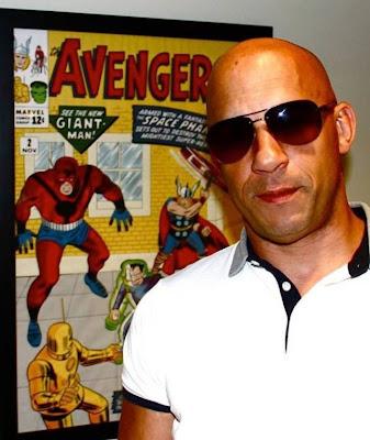 Vin Diesel in front of Avengers 2 pic