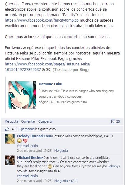 facebook hatsune miku comunicado español