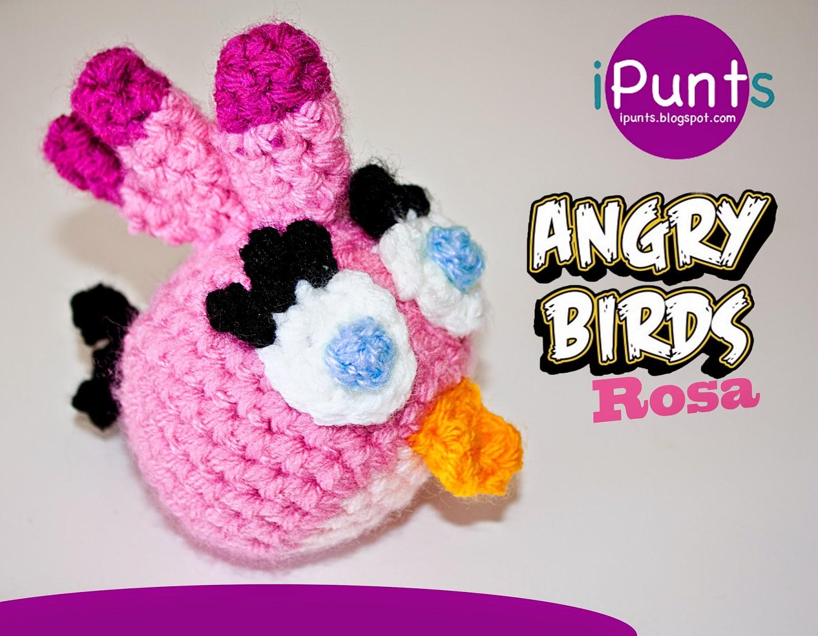 angry birds rosa muñeco amigurumi patron gratis punts crochet ganchillo