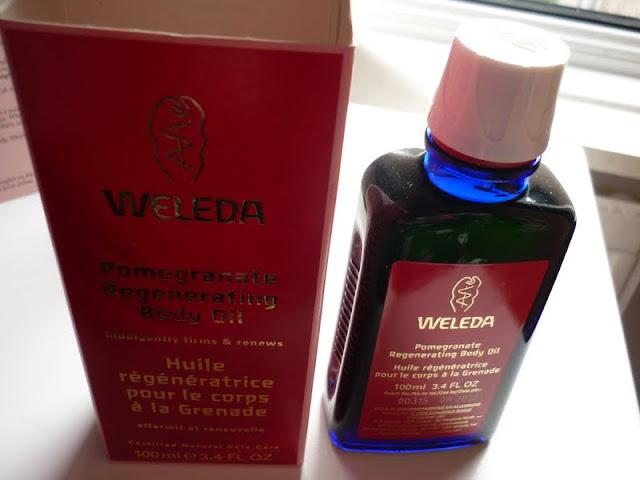 weleda pomegranate regenerating body oil packing and bottle