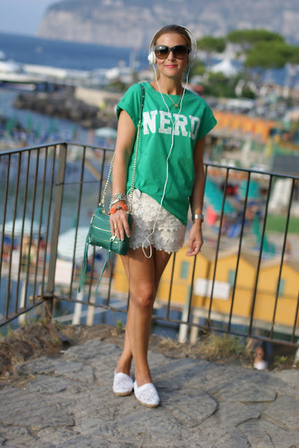 white lace shorts, nerd t-shirt, Rebecca Minkoff green zipper bag, Fashion and Cookies, fashion blog