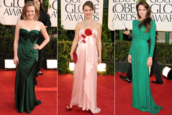 Natalie Portman pink dress Golden Globes 2011 Red Carpet Elisabeth Moss