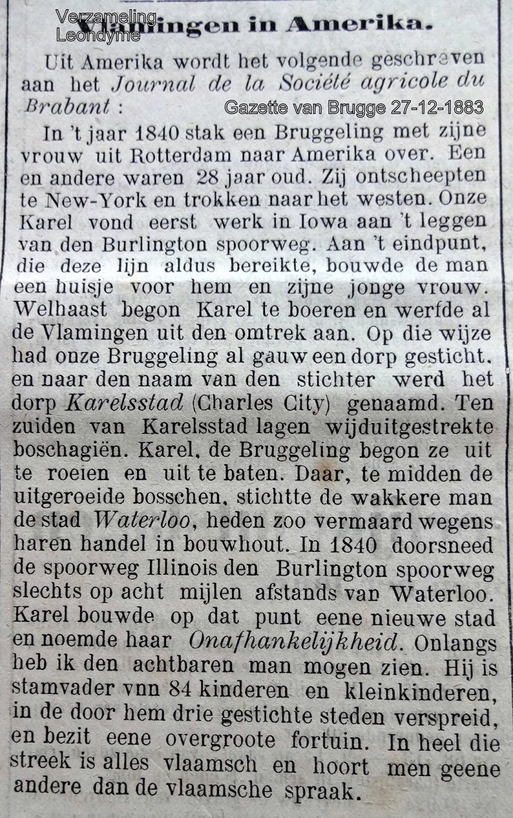 Bruggeling sticht stad in Amerika. Gazette van Brugge 27-12-1883.