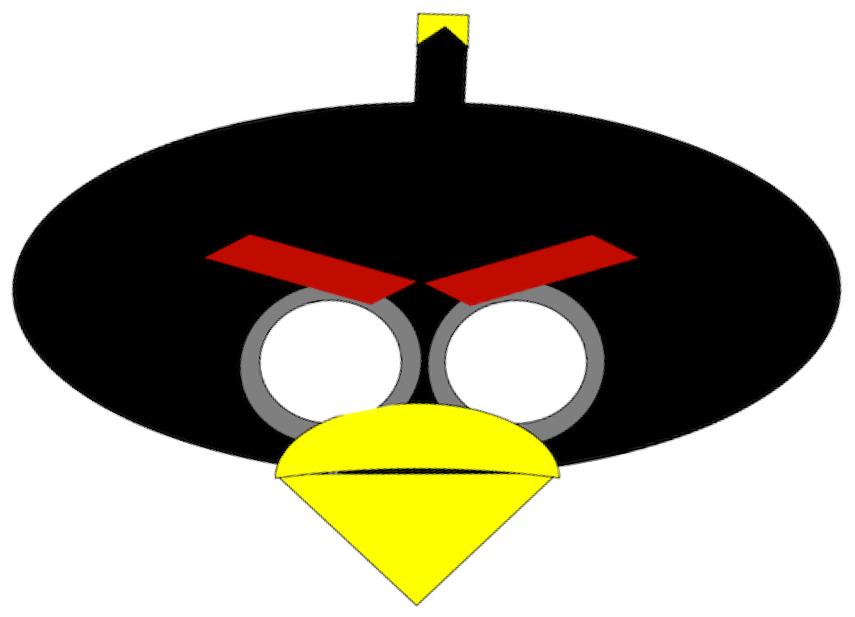 Máscara de Angry Bird negro.