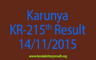 Karunya KR 215 Lottery Result 14-11-2015