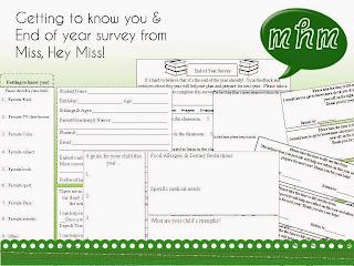 Miss, Hey Miss! Meet the teacher & End of year Survey