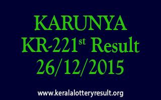KARUNYA KR 221 Lottery Result 26-12-2015