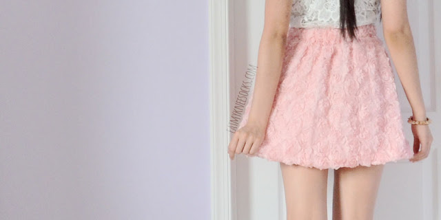 Back view of the flared pink rose skirt from Romwe, a 3D rose-embellished circle skirt.