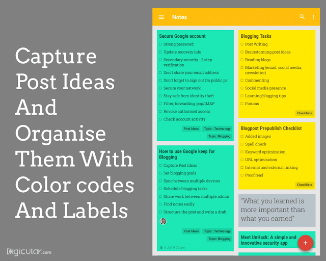Capture post Ideas Google keep productivity tips