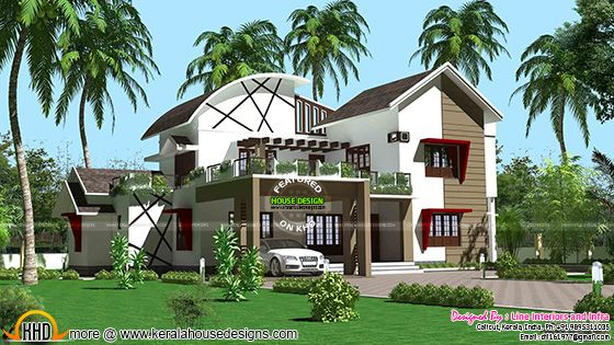 Contemporary style mixed roof Kerala home