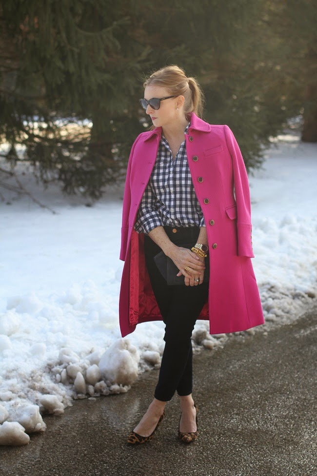 pink jcrew coat, jcrew plaid shirt, jbrand jeans, jcrew heels, saint laurent sunnies, michael kors watch