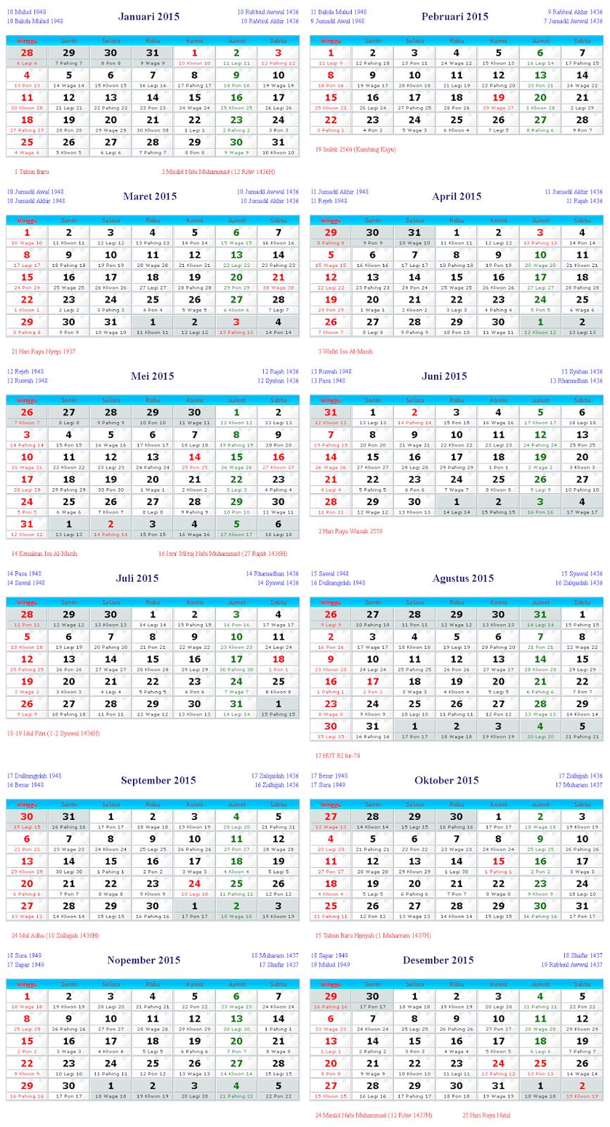 Gambar Kalender 2015