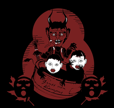 Krampus graphics in the tradition of vintage style red, black, white Krampuskarten interpreted by Bindegrim