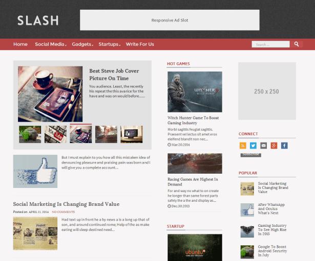 Slash - Tech/Magazine Blogger Template