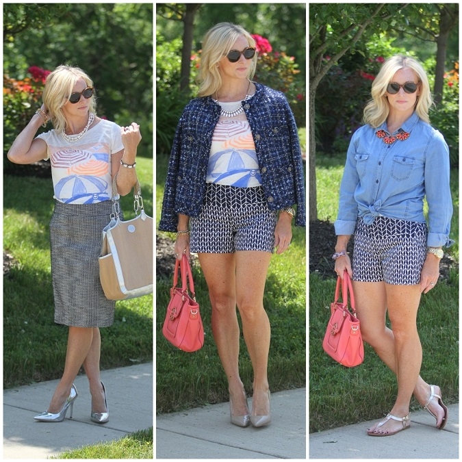 chambray shirt, J.Crew, Tory Burch, Ralph Lauren, gold sandals, elizabeth and james, jcrew factory, Yuni Kelley designs, LosPhoto, Simply Lulu Style, lulu looks, style tips, mix and match summer style,