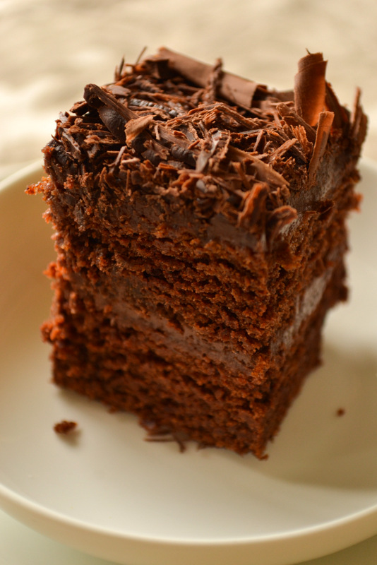 vegan chocolate cake square