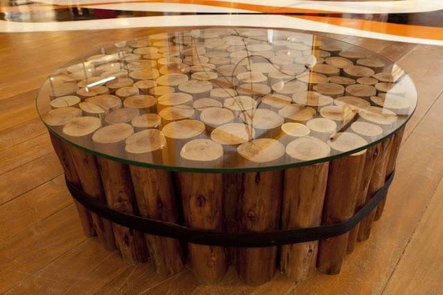 mesa de centro rústica, mesa de centro de barril